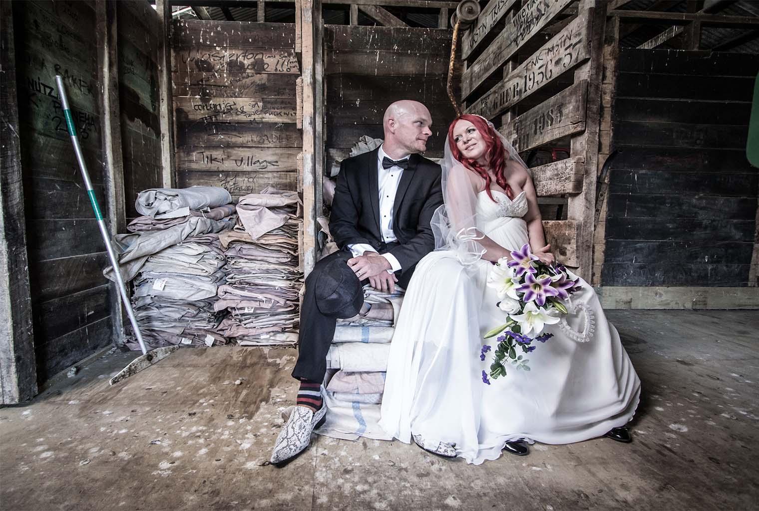 bridal couple at warehouse