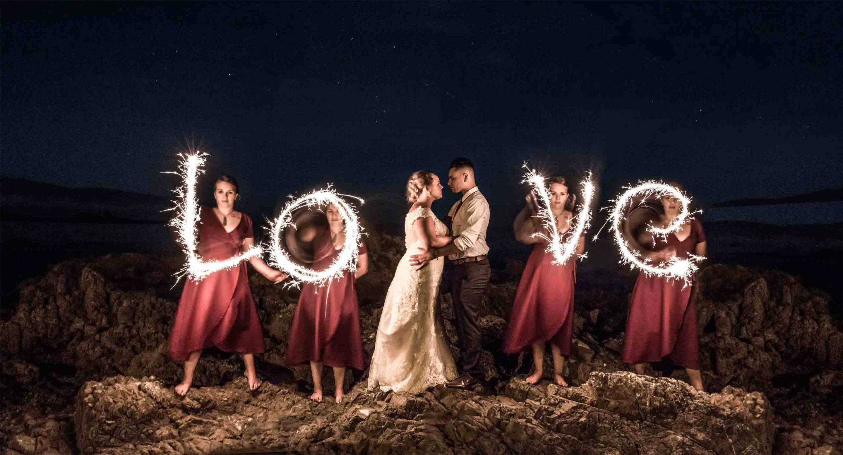 bridal entourage with sparklers
