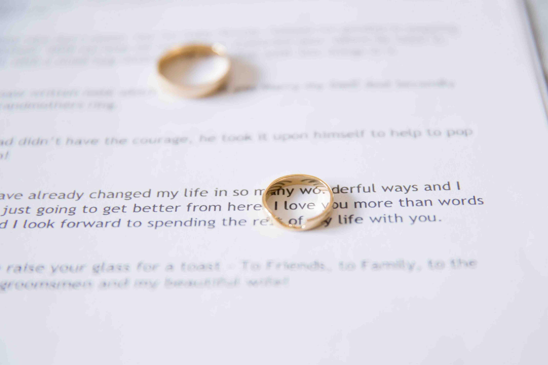 photograph of wedding rings