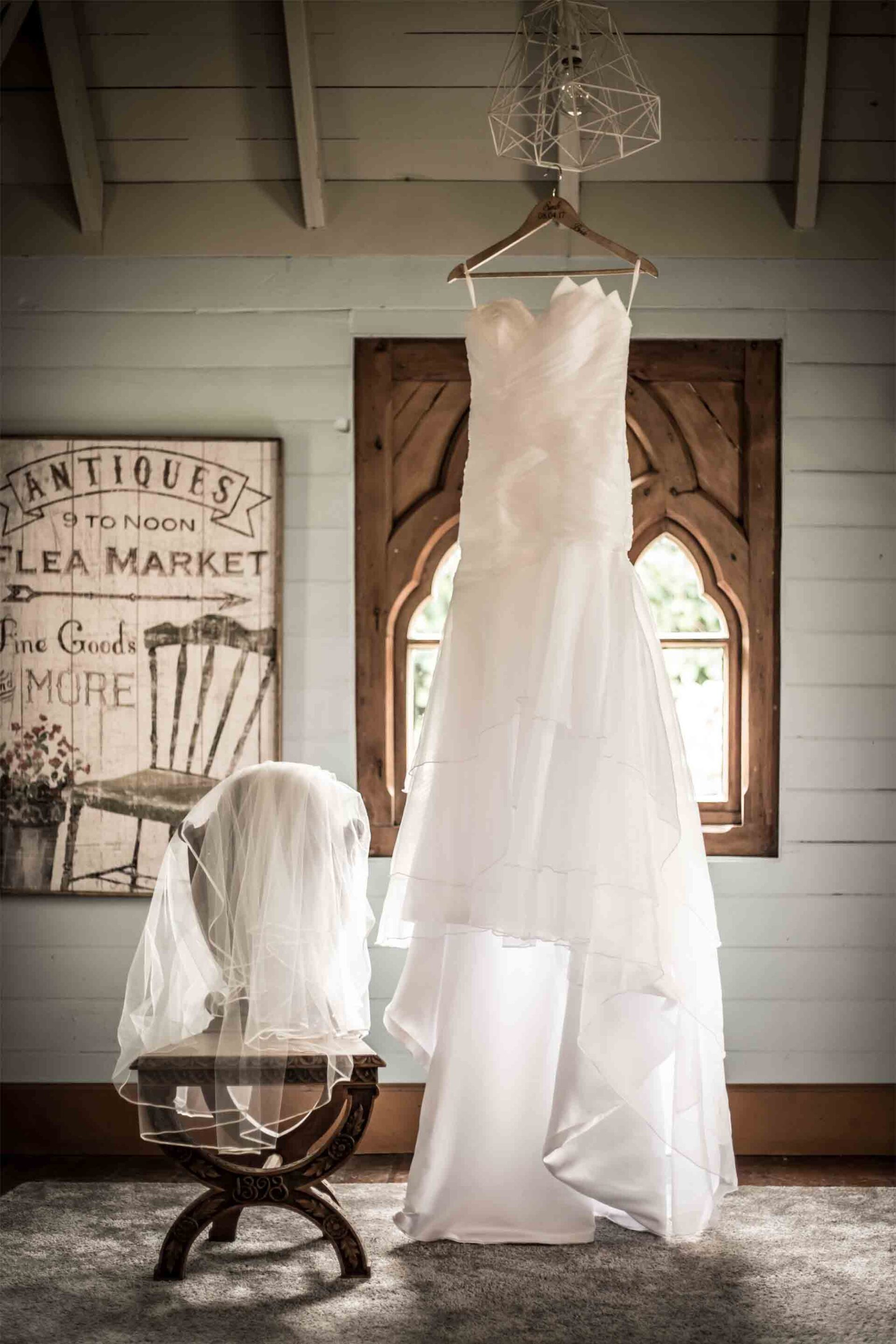 bridal gown hung out